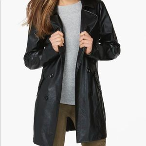 Justfab Faux Leather Black trench coat